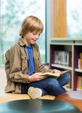 Happy Boy Reading Book In Library Stock Photos