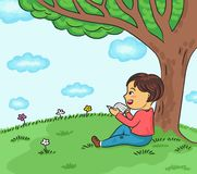 Happy boy reading book under the tree vector illustration royalty free illustration
