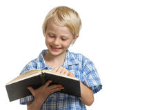 Happy boy reading a book Royalty Free Stock Photos