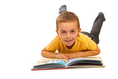 Happy boy reading a story Royalty Free Stock Images
