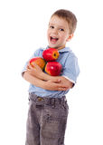 Happy boy with red apples Stock Images