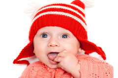 Happy boy in red hat Royalty Free Stock Image
