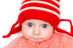 Happy boy in red hat Stock Photo