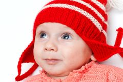 Happy boy in red hat Stock Image