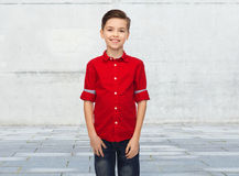 Happy boy in red shirt Royalty Free Stock Image
