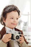 Happy boy in retro stile Royalty Free Stock Photography