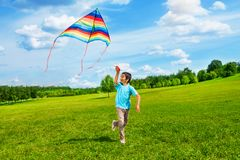 Happy boy run with kite. Little boy in blue shirt running with kite in the field on summer day in the park Stock Photos