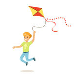 Happy boy running with his flying kite, kids outdoor activity colorful character vector Illustration Stock Images