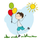 Happy boy running and holding colorful balloons in his hand. Original hand drawn illustration Stock Photos
