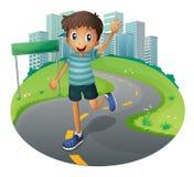 A happy boy running. Illustration of a happy boy running stock illustration