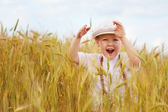 Happy boy running on wheat field Royalty Free Stock Images