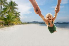 Happy boy on sand beach background Stock Images
