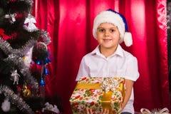 Happy boy in Santa's hat Royalty Free Stock Photo