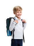 Happy boy with schoolbag. Portrait of cute smiling young boy wearing schoolbag Stock Photo