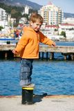 Happy boy on sea background Royalty Free Stock Photos