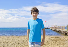 Happy boy at the sea Royalty Free Stock Photography