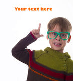 Happy boy showing place for your text Royalty Free Stock Photography