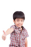 Happy boy showing thumbs up gesture. Happy boy showing thumbs up isolated on white background Royalty Free Stock Photo