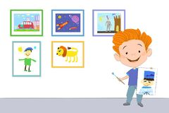 Happy boy shows a painted figure. Happy boy standing and holding in one hand a drawn portrait of a sailor, and in the other hand - a brush with paint. On the Royalty Free Stock Images
