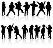 Happy boy silhouette Stock Images