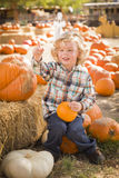Happy Boy Sitting and Holding His Pumpkin at Pumpkin Patch Stock Image