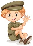 A happy boy sitting in a safari outfit. Illustration Stock Images