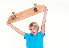 Happy boy with skateboard Royalty Free Stock Photos