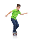 Happy boy with skateboard Stock Images