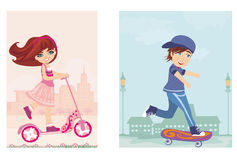 Happy boy on a skateboard and girl on scooter Royalty Free Stock Photo