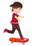 The happy boy on a skateboard Stock Photography