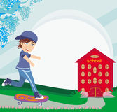 Happy boy on a skateboard near school. Illustration Stock Photo