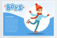 Happy boy skating on Ice rink, boys banner for advertising brochure, promotional leaflet poster, presentation flat. Vector element for website or mobile app Stock Images