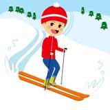 Happy Boy Skiing Stock Images