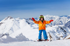 Happy boy skiing on Sochi ski resort, Russia Stock Photography