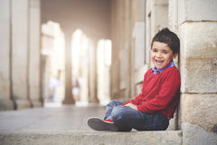 Happy Boy Smiling. Happy Child in the street Royalty Free Stock Images