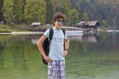 Happy boy is smling at camera at Lake Bohinj,Slovenia Stock Images