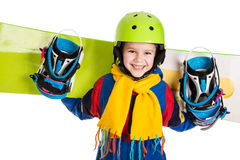 Happy boy with snowboard. Happy boy standing with snowboard, isolated on white stock images