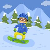 Happy Boy snowboarding in the mountains in winter holiday season vector illustration, design element for poster or Royalty Free Stock Photography