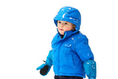 Happy Boy in a Snowsuit - Isolated Royalty Free Stock Images