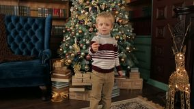 Portrait of a little boy with Bengal fire. Happy boy with a Sparkler near beautiful decorated Christmas tree. The child is holding a Sparkler fire that is not stock footage