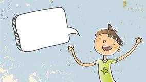 Happy Boy with speech balloon stock illustration