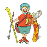 Happy boy with sports equipment. Activity in the fresh air. Vector illustration. Happy boy with sports equipment. Activity in the fresh air. Vector illustration Stock Photo
