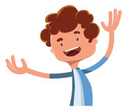 Happy boy spreading his arms  illustration cartoon character Royalty Free Stock Photos