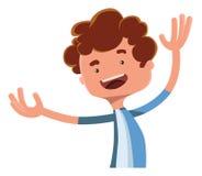 Happy boy spreading his arms illustration cartoon character. Enjoy vector illustration