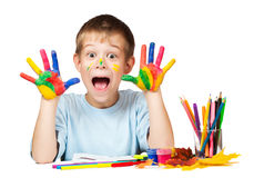 Happy boy with stained coloured hand. isolated Stock Images