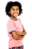 Happy Boy Standing. With her arms crossed isolated over white Stock Image