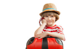 Happy boy in a straw hat Royalty Free Stock Photos