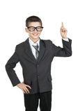 Happy boy student raised his finger. Boy in glasses smiling. I have an idea. Stock Photos