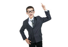Happy boy student raised his finger. Boy in glasses smiling. I have an idea. Royalty Free Stock Photography