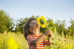 Happy boy with sunflower Royalty Free Stock Photos